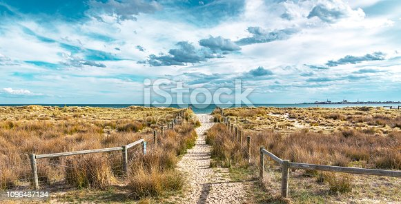 A sandy path between grassy dunes leads to the sea at Port Melbourne in Victoria, Australia
