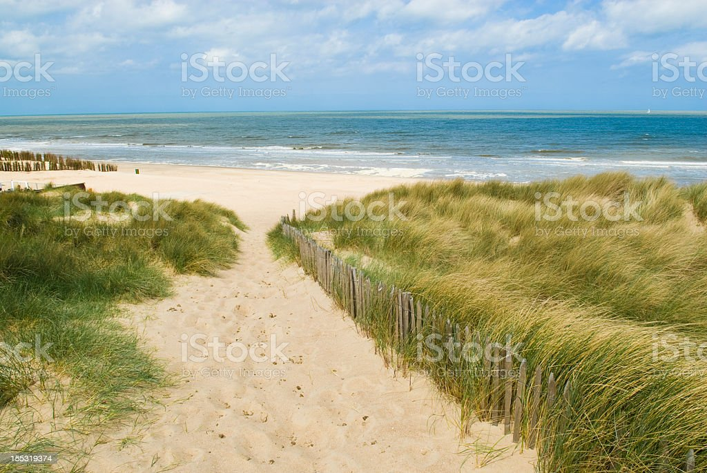 Sandy path to beach with sand dunes on the sides  stock photo
