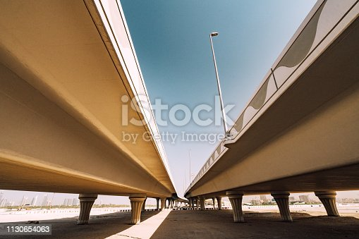 sandy road and bridge in Dubai, UAE