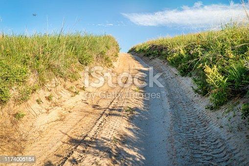 sandy 4wd road in Nebraska Sandhills, summer scenery