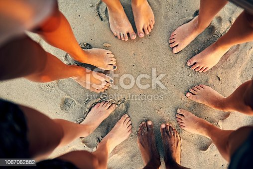 Shot of young people hanging out at the beach