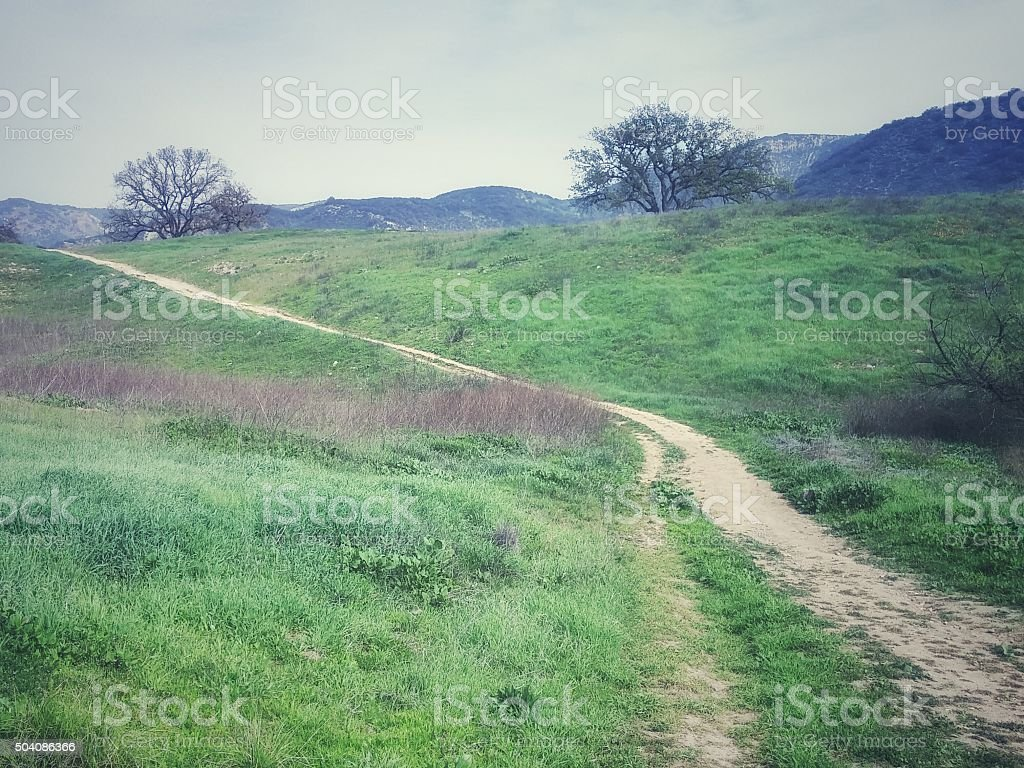 Sandy Trail Curved Hiking Horse Trail, Foothills, Paramount Ranch, California stock photo