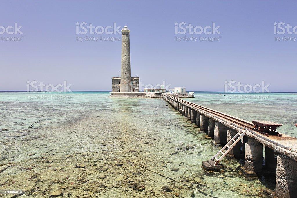 Sanganeb lighthouse stock photo