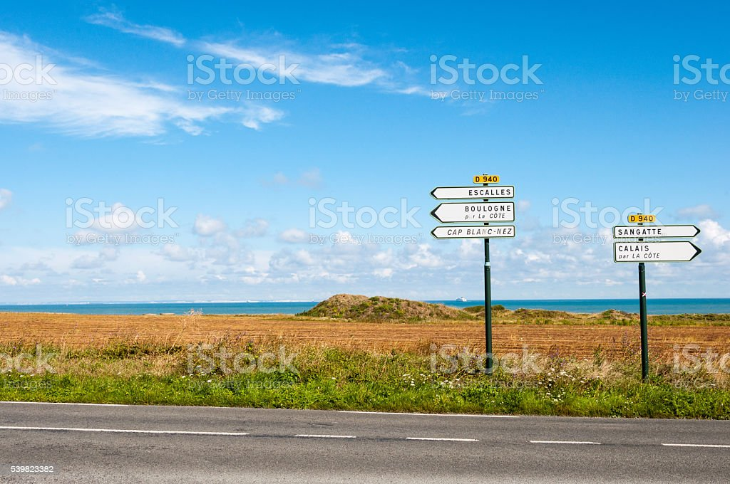 Sangatte and Calais direction sign stock photo