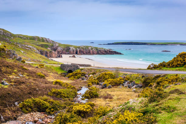 Sango Bay near Durness Sango Bay beach near Durness north coast 500 stock pictures, royalty-free photos & images