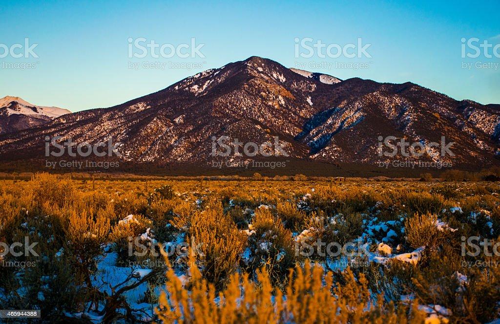 Sangre De Cristo Snow Covered New Mexican Mountains stock photo