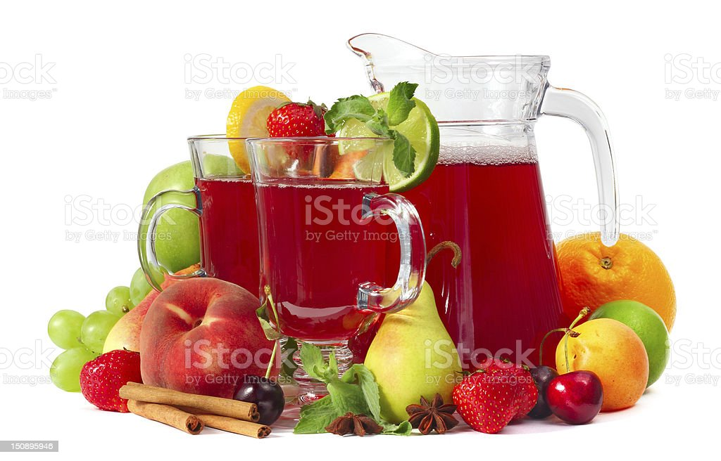 Sangria and fruits royalty-free stock photo