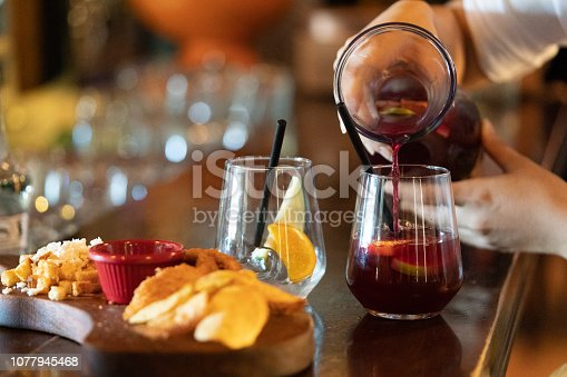Selective focus on sangria.