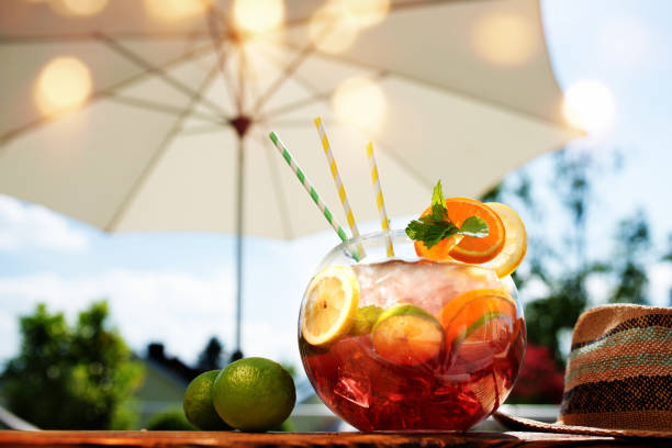 Sangria cocktail in the summer stock photo