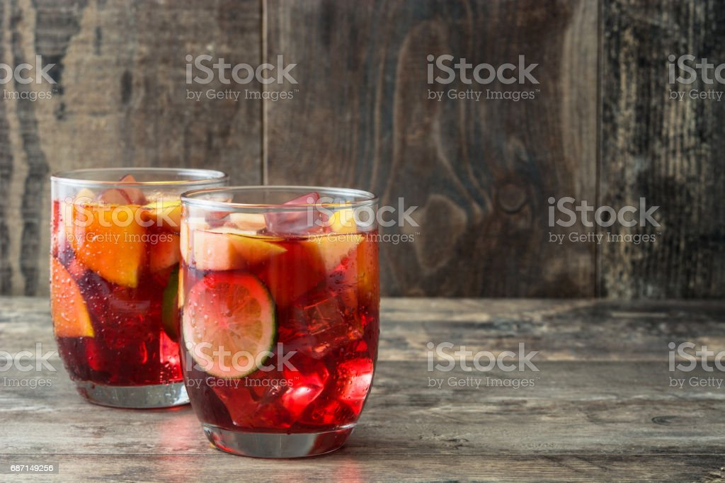Sangria drink in glass stock photo