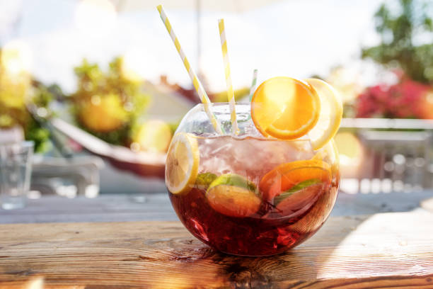 Sangria punch in summer stock photo