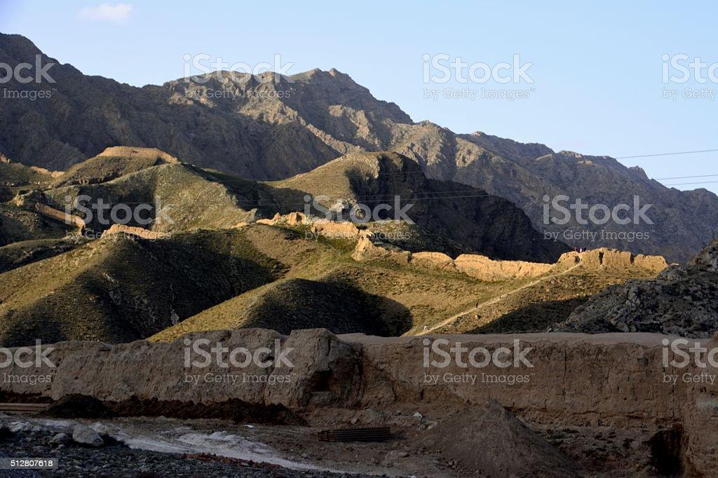 Sanguankou Great Wall, Ningxia/Inner Mongolia border stock photo