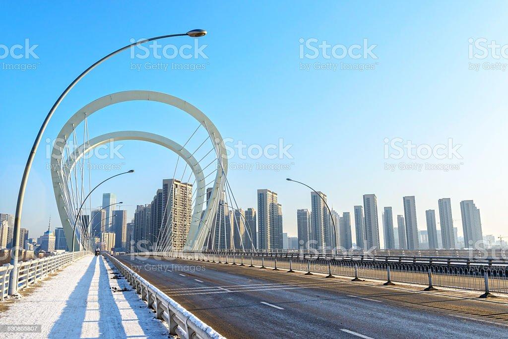 Sanhao Bridge in winter. stock photo