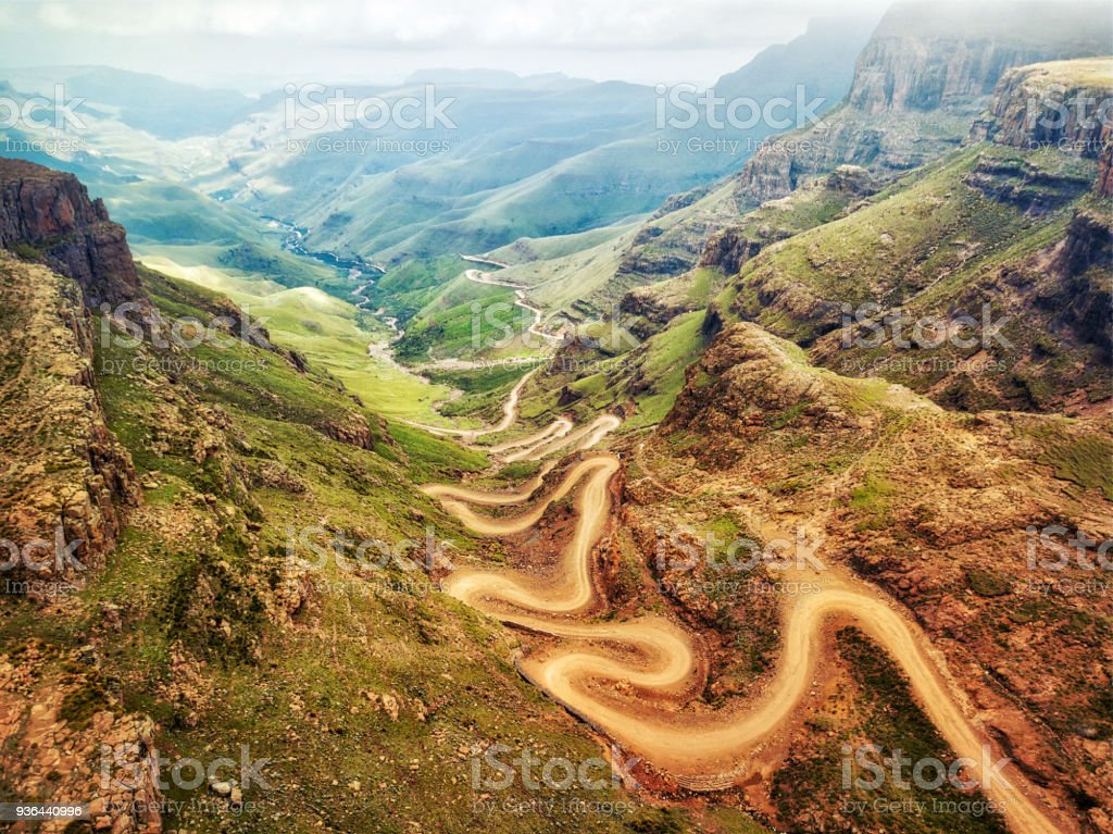 Sani Pass down into South Africa stock photo