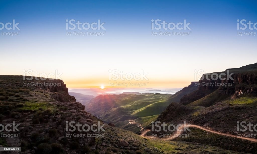 Sani Pass Sunrise stock photo