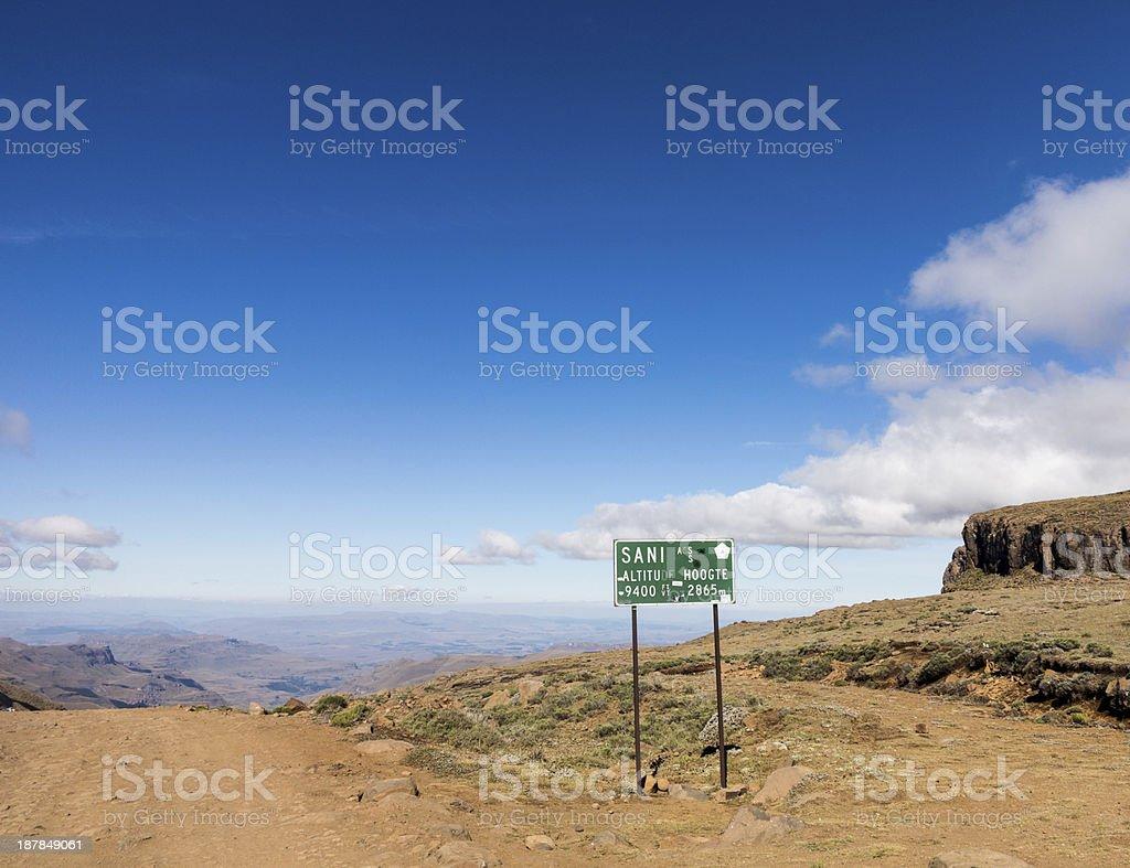 Sani pass to Lesotho stock photo