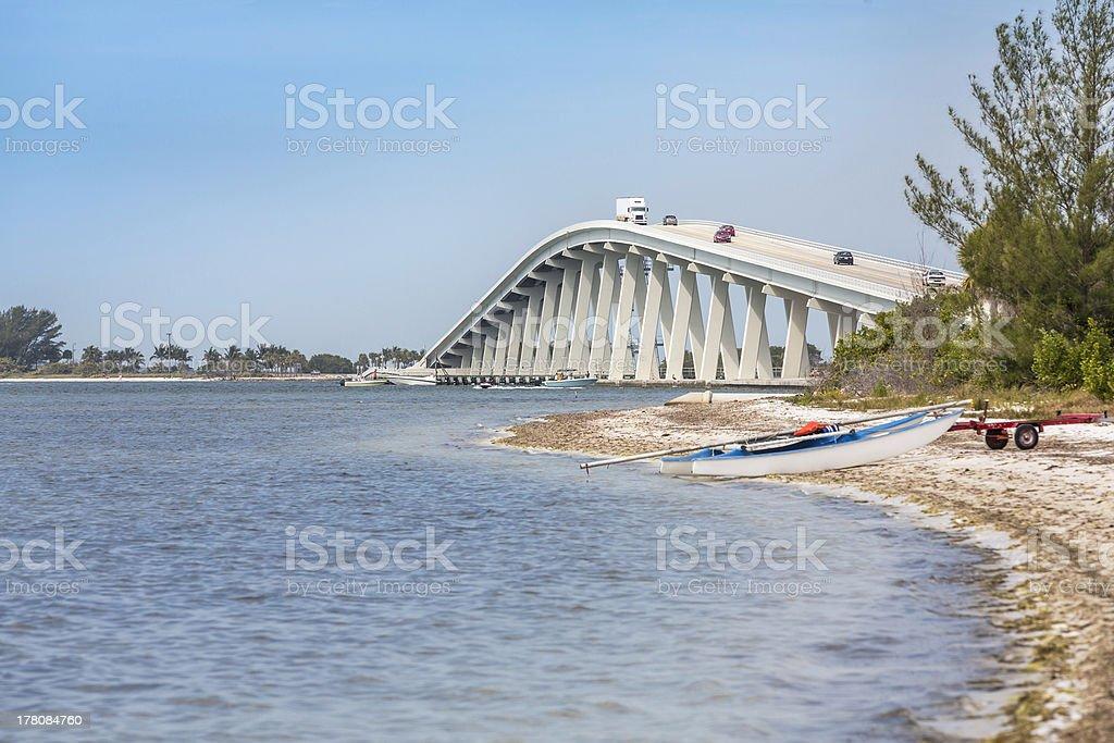 Sanibel Causeway And Bridge in Florida stock photo