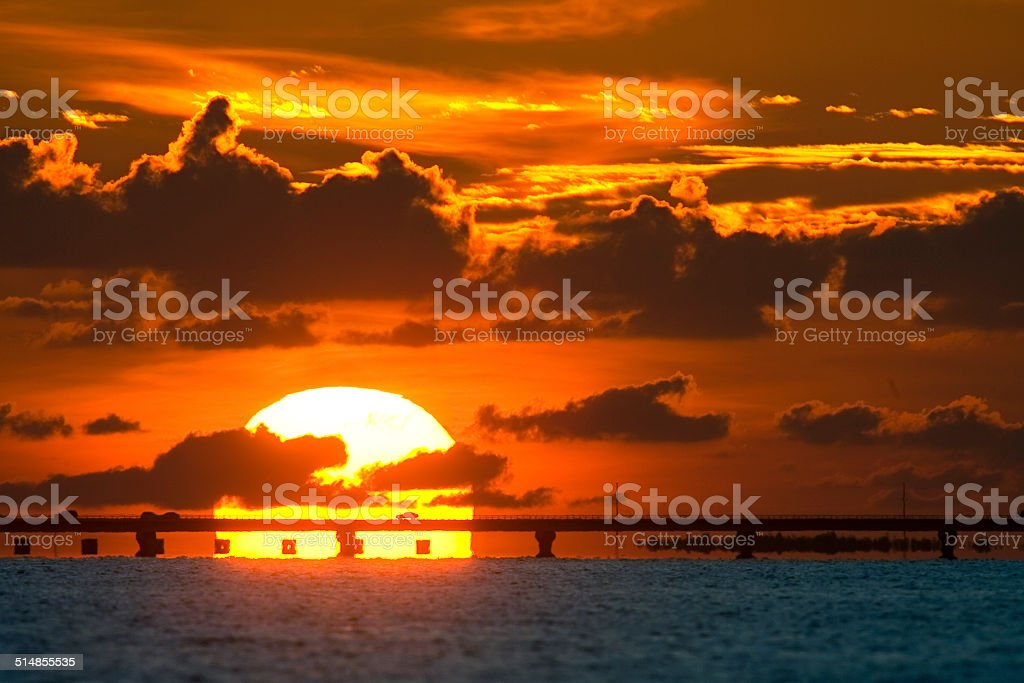 Sanibel Causeway Sunset stock photo