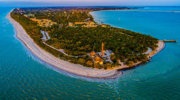 Sanibel Island,Florida Aerial Sunrise stock photo