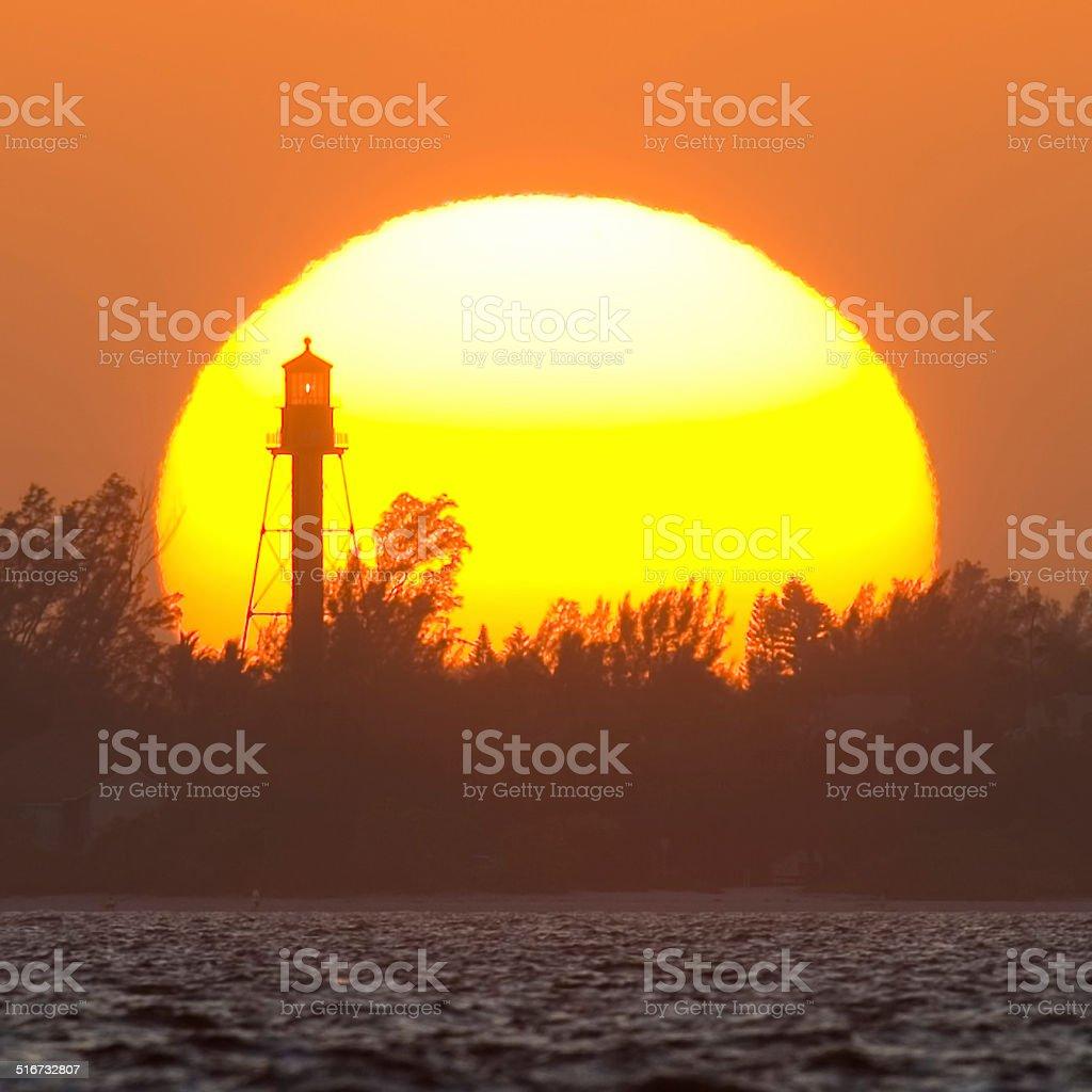 Sanibel Lighthouse at Sunset 2 stock photo