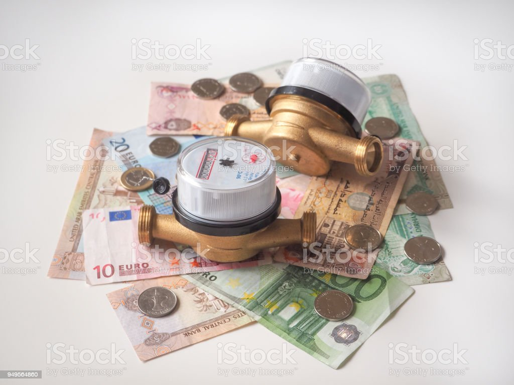 Sanitary engineering. Water meters and tools for plumbing. stock photo