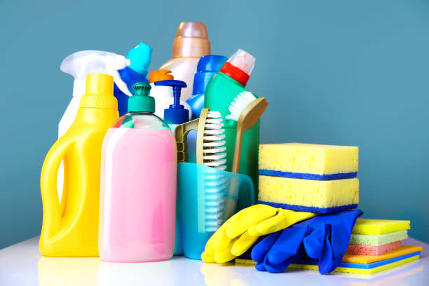 sanitary items,cleaning household supplies. - bleach stock pictures, royalty-free photos & images