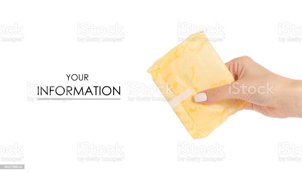 Sanitary napkin in female hand pattern stock photo