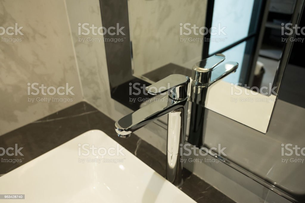 Sanitary ware luxury style in restroom. stock photo