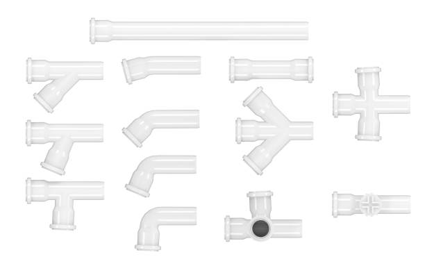 Sanitary white pipes plastic collection extensions combinations isolated on white background. Sanitary white pipes plastic collection extensions combinations isolated on white background. coupling device stock pictures, royalty-free photos & images