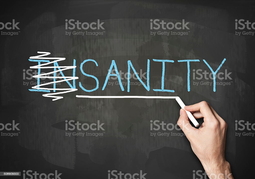 Sanity or Insanity / Blackboard concept (Click for more) stock photo