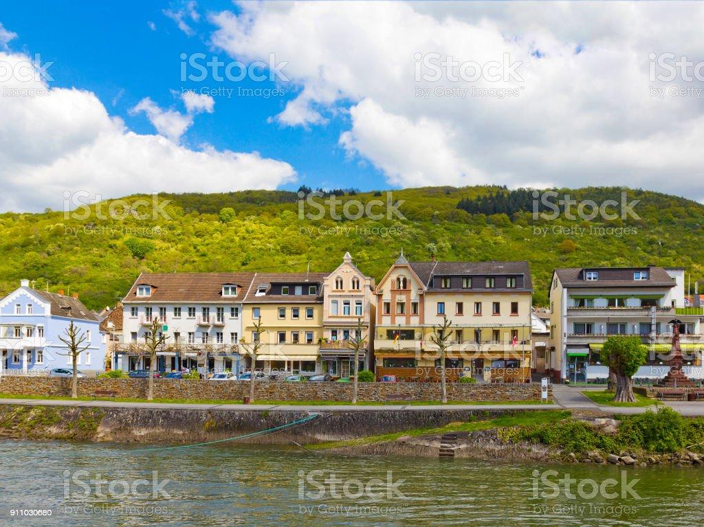 Sankt Goarshausen on the riverbank of Rhine in Rhineland-Palatinate, Germany stock photo