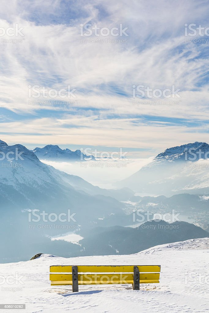 Sankt Moritz bench view, Canton Graubünden, Switzerland. stock photo