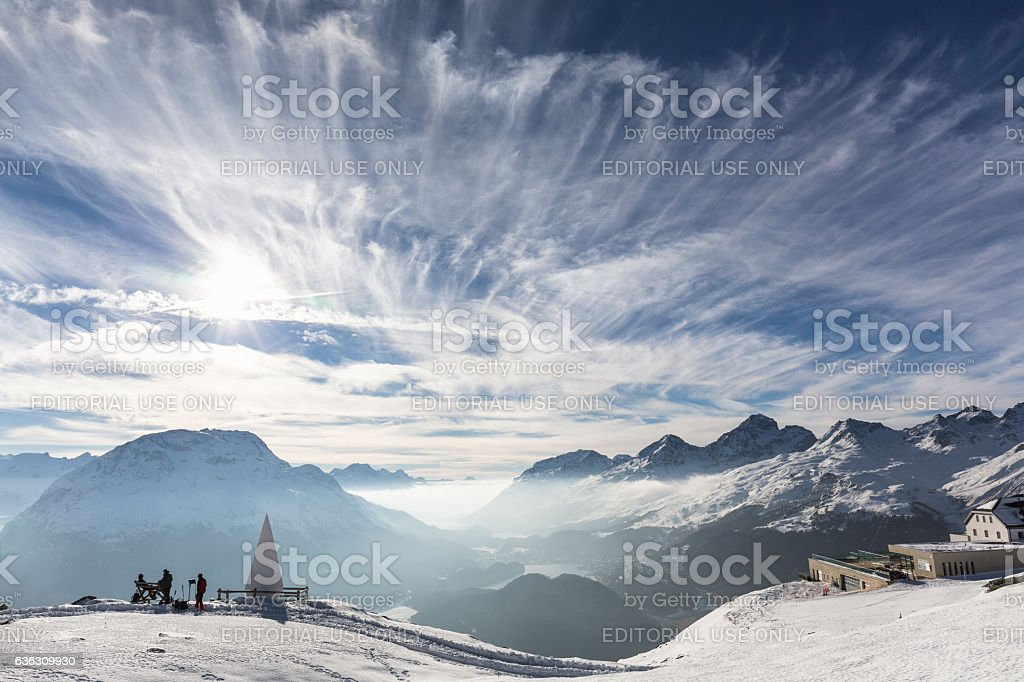 Sankt Moritz view, canton Graubünden, Switzerland. stock photo