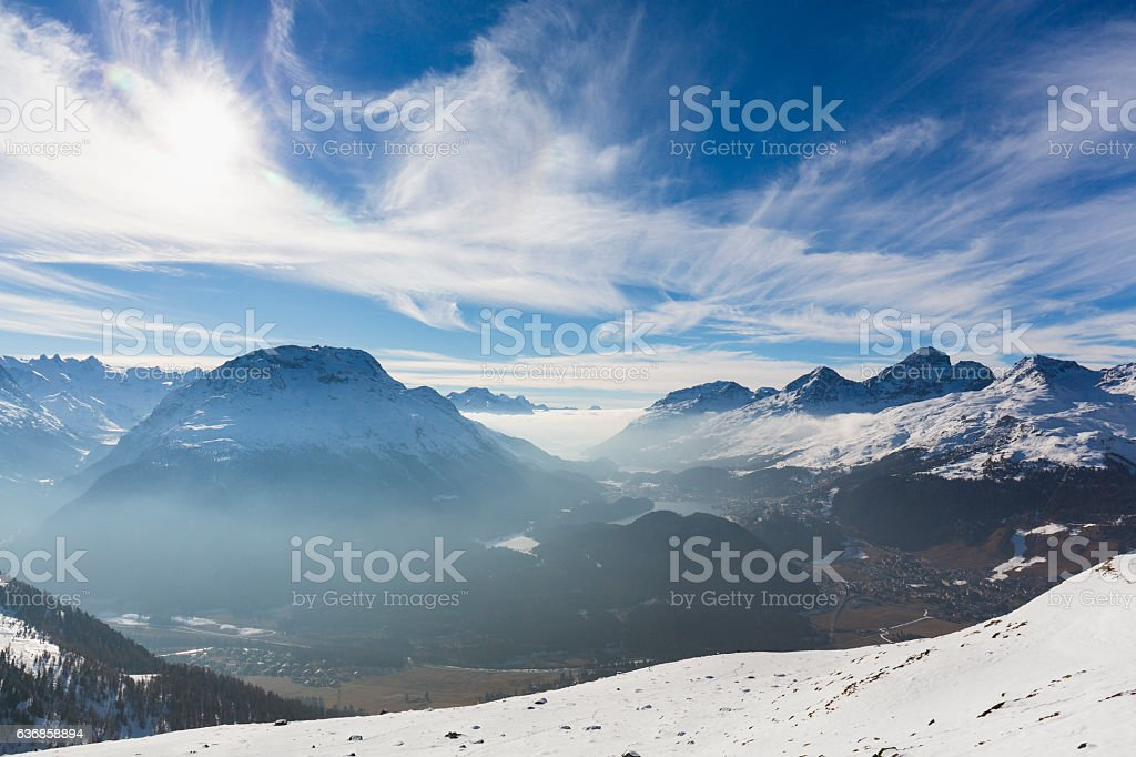 Sankt Moritz view, Canton Grigioni, Switzerland. stock photo