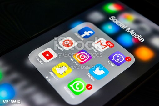 588359078 istock photo Sankt-Petersburg, Russia, September 24, 2017: iphone 6s plus with icons of social media on screen. Smartphone life style smartphone. Starting social media app. 853478640