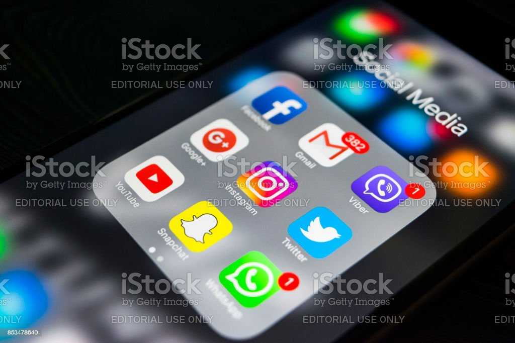 Sankt-Petersburg, Russia, September 24, 2017: iphone 6s plus with icons of social media on screen. Smartphone life style smartphone. Starting social media app. stock photo