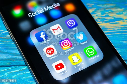 588359078 istock photo Sankt-Petersburg, Russia, September 24, 2017: iphone 6s plus with icons of social media on screen. Smartphone life style smartphone. Starting social media app. 853478874
