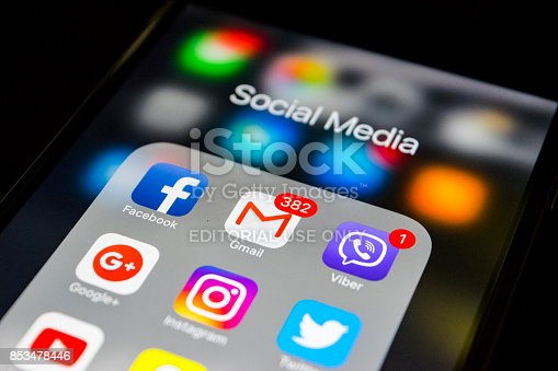 588359078 istock photo Sankt-Petersburg, Russia, September 24, 2017: iphone 6s with icons of social media on screen. Smartphone life style smartphone. Starting social media app. 853478446