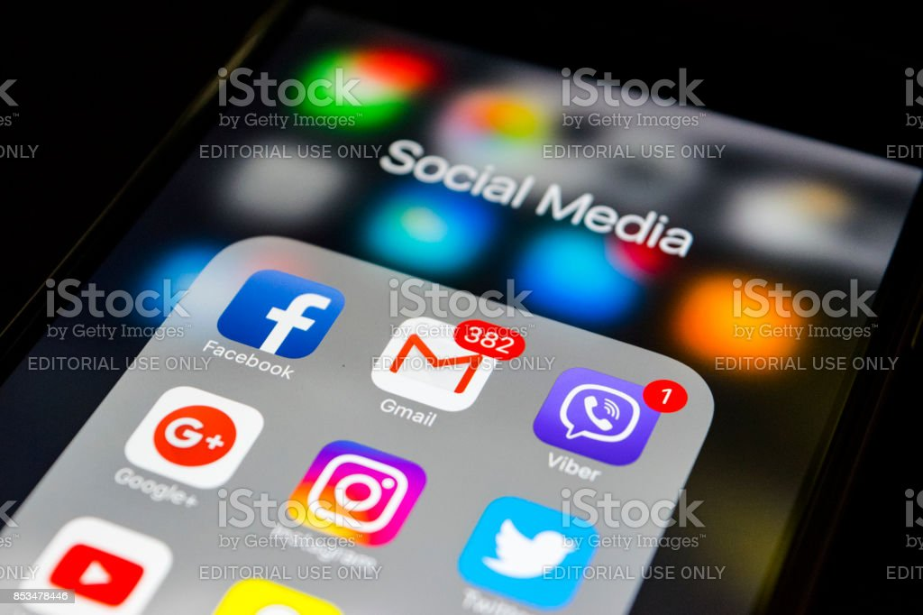 Sankt-Petersburg, Russia, September 24, 2017: iphone 6s with icons of social media on screen. Smartphone life style smartphone. Starting social media app. stock photo