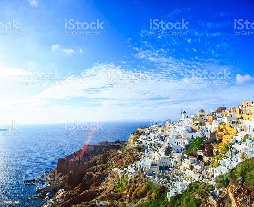 Sanorini skyline, Greece stock photo