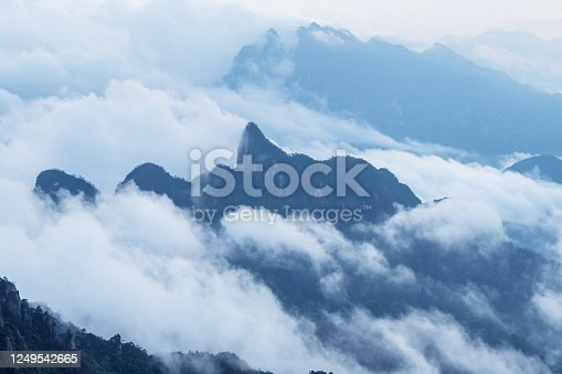 istock sanqing mountain in cloud and fog 1249542665