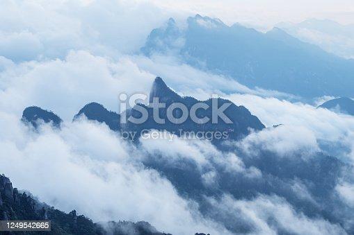 sanqing mountain in cloud and fog, jiangxi province, China