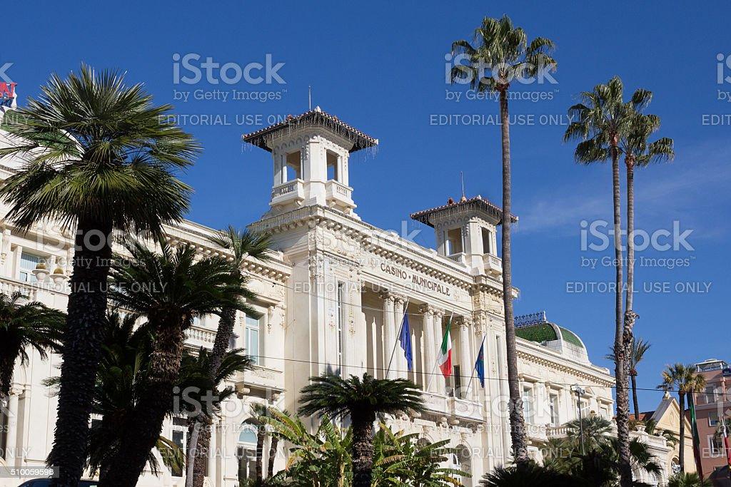 Sanremo Casino view - Historic Liberty building of Ligurian Riviera stock photo