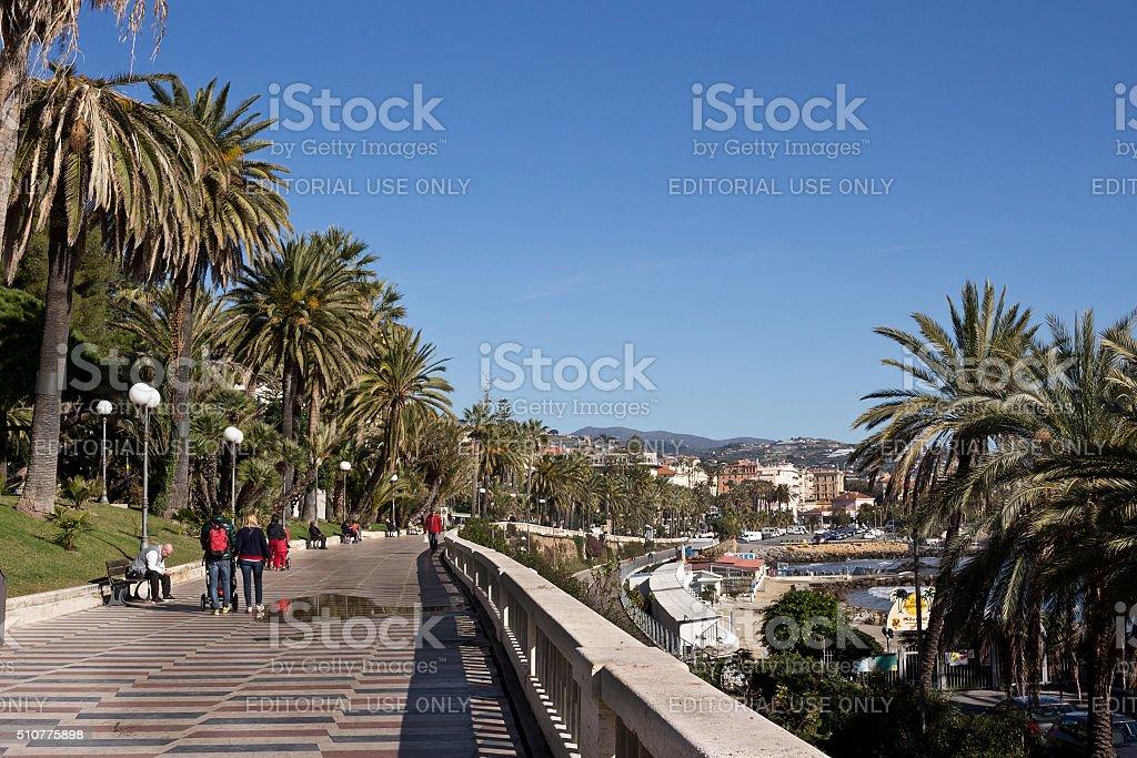 Sanremo - Corso Imperatrice promenade (Empress promenade) stock photo