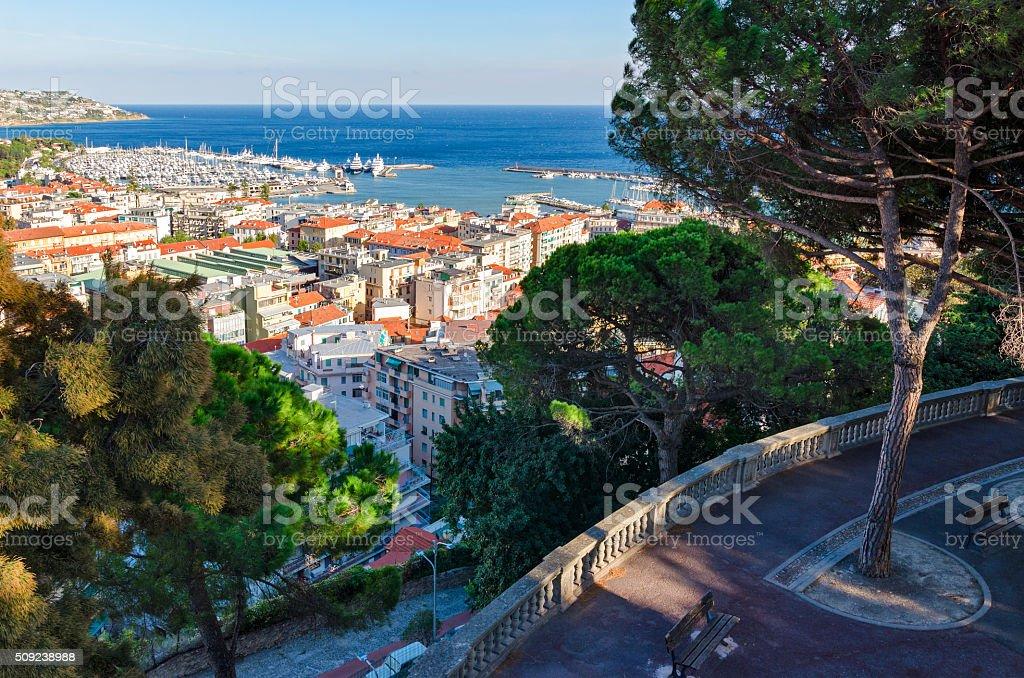 Sanremo, panorama from Giardini Regina Elena stock photo