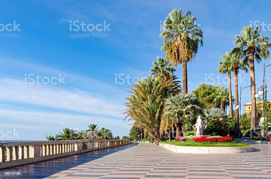 Sanremo (Italian riviera), promenade and Statua della Primavera stock photo
