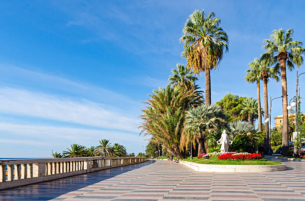sanremo (italian riviera), promenade and statua della primavera - della stock pictures, royalty-free photos & images