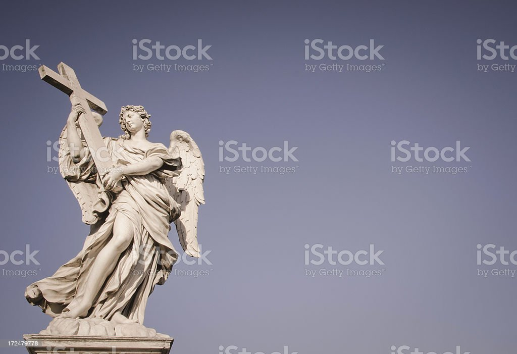 Sant Angelo bridge angels with cross. Rome, Italy royalty-free stock photo