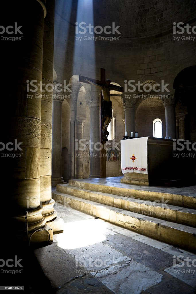 Sant' Antimo Abbey. Color Image stock photo