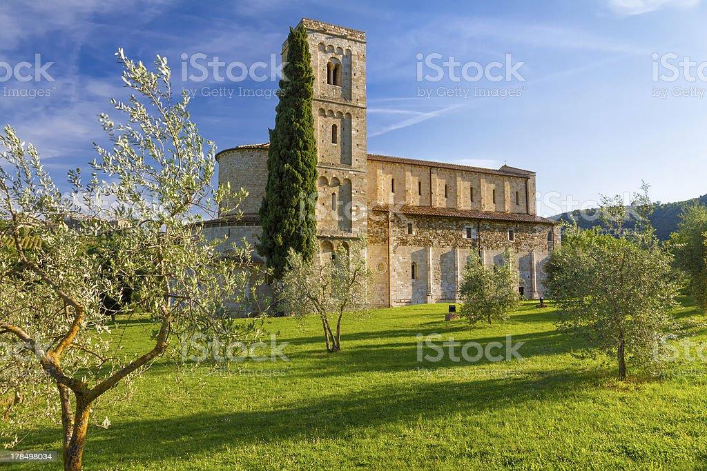 Sant Antimo Abbey near Montalcino, Tuscany, Italy stock photo